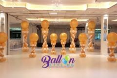 Balloon Styling Tilburg luxe Romeinse ballonnenpilaar ballonpilaar palmboom metallic goud en wit