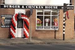 Balloon Styling ballonnenboog ballonboog rood wit en zwart Burger & Chicken House Waalwijk