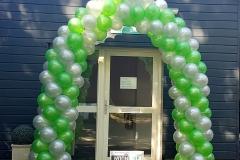 Balloon Styling ballonnenboog ballonboog spiraalvorm metallic groen met zilver Brabant Tilburg Reeshof