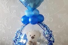 kado in een ballon blauw met beertje