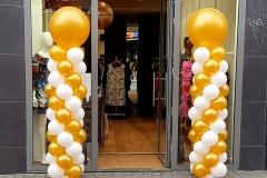 pilaren metallic goud met wit en gouden topballon