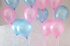 tafeldecoratie tros 3 ballonnen roze en blauw