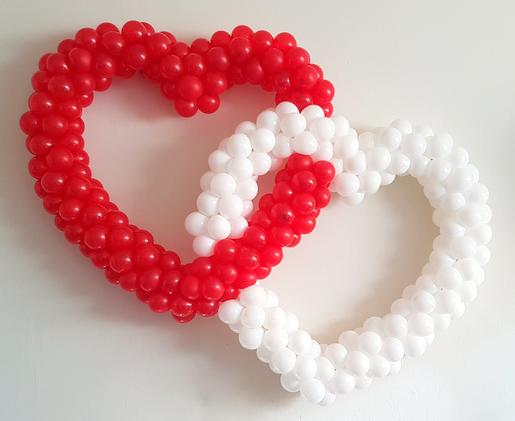dubbel hart rood met wit