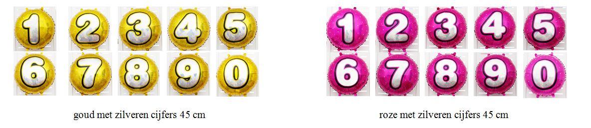 goud en roze cijfers folieballonnen