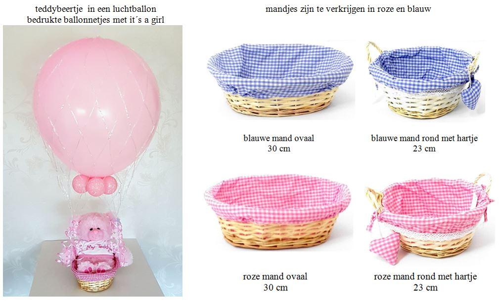 teddybeertje in een luchtballon en mandjes