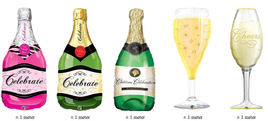 folieballonnen champagne en fles