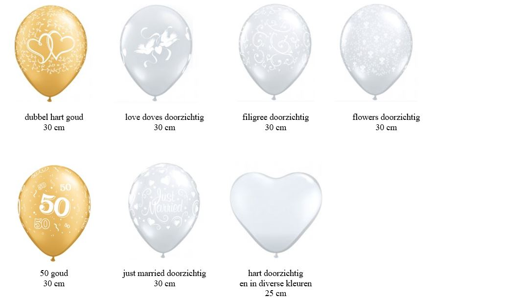latex ballonnen voor heliumballonnen tafeldecoratie gronddecoratie Brabant Tilburg Reeshof