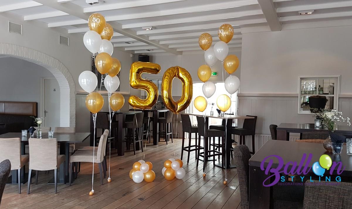 Heliumballonnen ballontrossen gronddecoratie vloerdecoratie tafeldecoratie 50 jarig jubileum Balloon Styling Tilburg