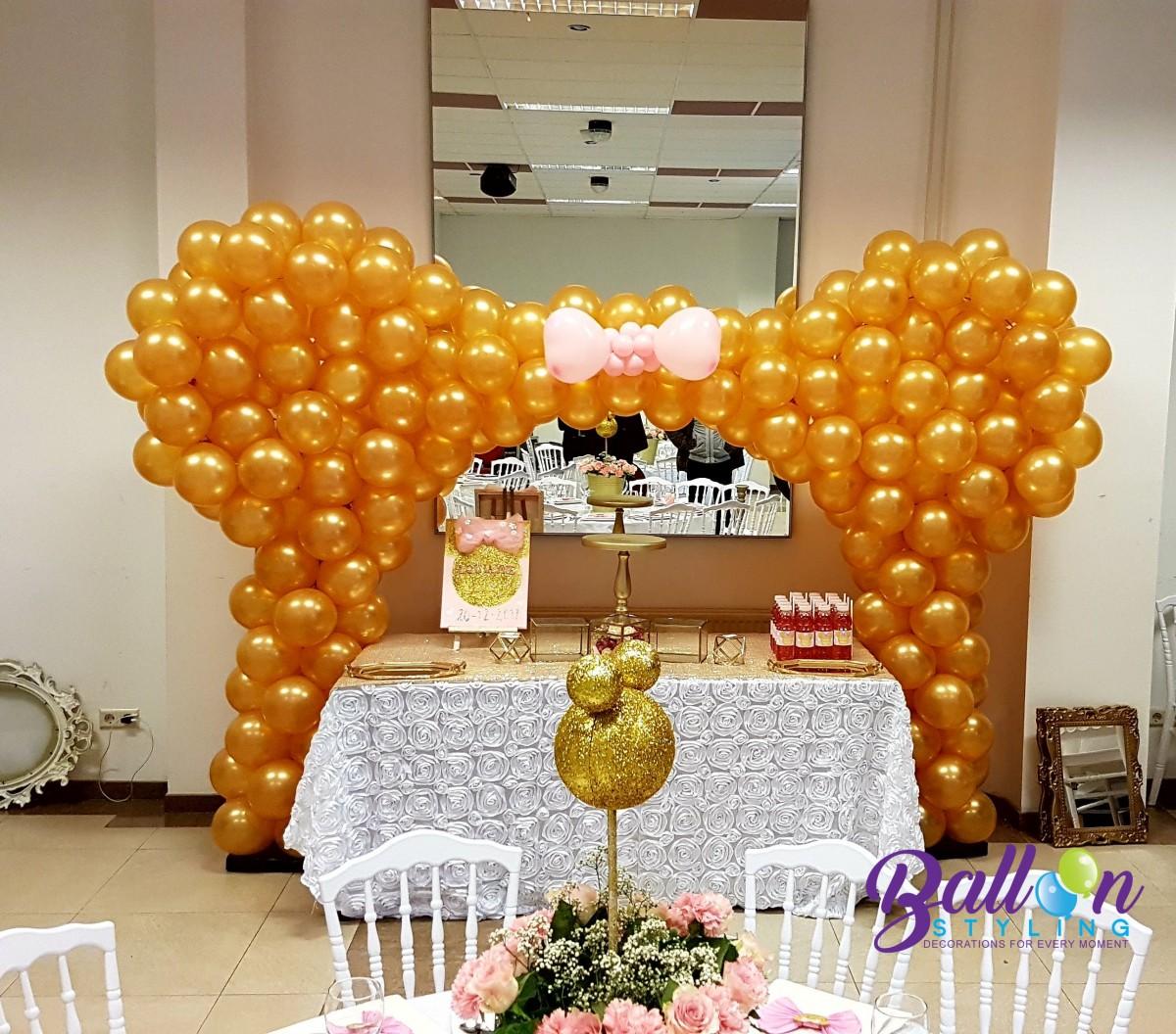 Ballonnenboog Minnie Mouse metallic gouden ballonnen Brabant Tilburg Reeshof