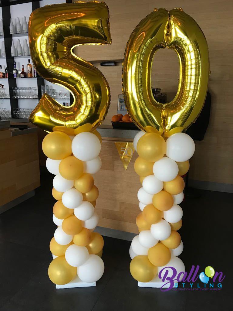 Balloon Styling balloncijfers ballonnenpilaar ballonpilaar 50 jarig huwelijk Brabant Tilburg Reeshof