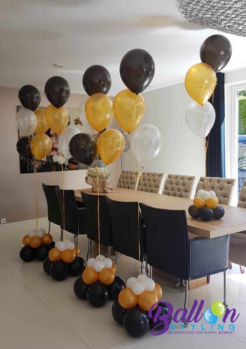 Balloon Styling heliumballonnen gronddecoratie tafeldecoratie metallic goud zwart en wit Tilburg Brabant Tilburg Reeshof - kopie
