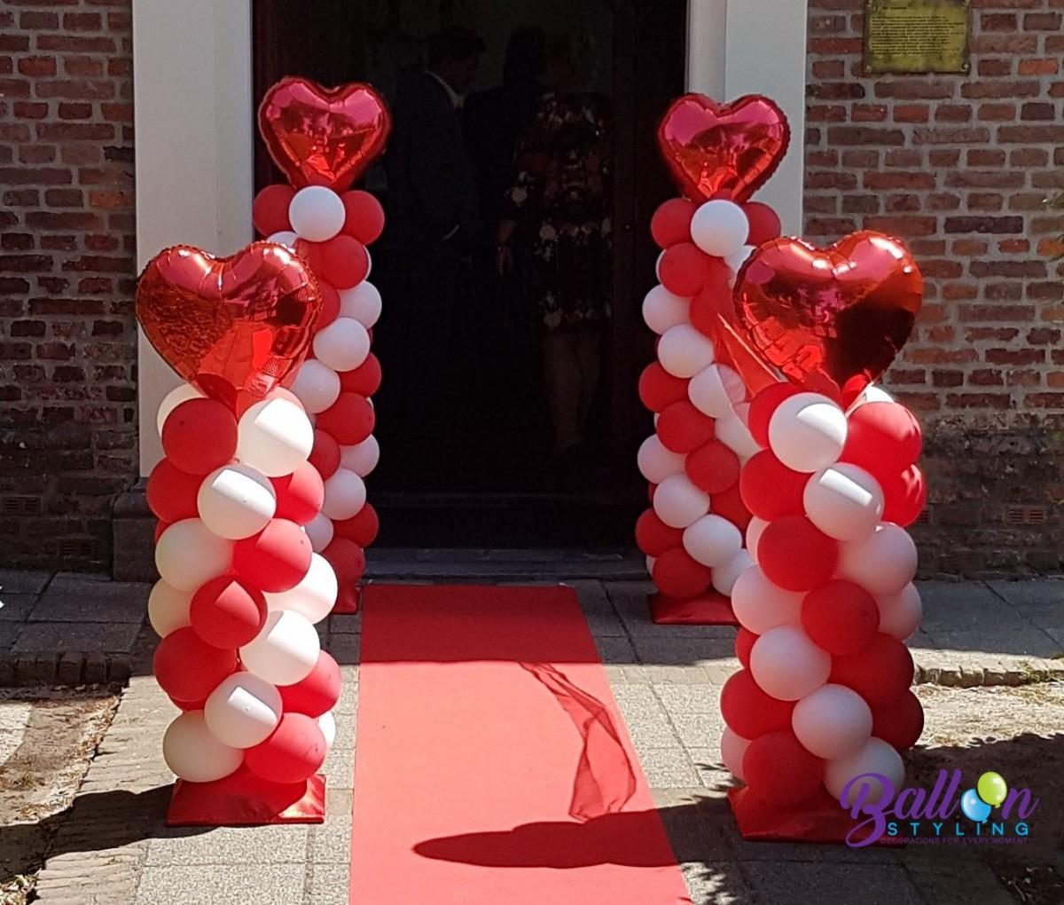 Balloon Styling Tilburg ballonnenpilaar ballonpilaar huwelijk trouwerij minipilaren folie hartballon