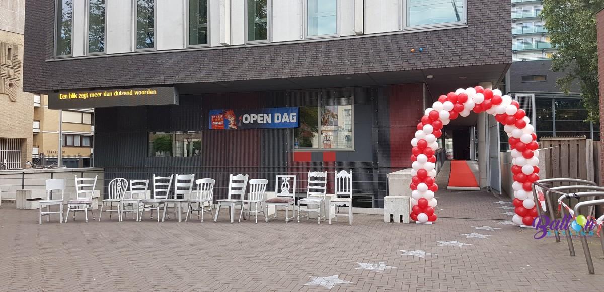 Balloon Styling luxe ballonnenboog ballonboog rood met wit Factorium Podiumkunsten Brabant Tilburg Reeshof