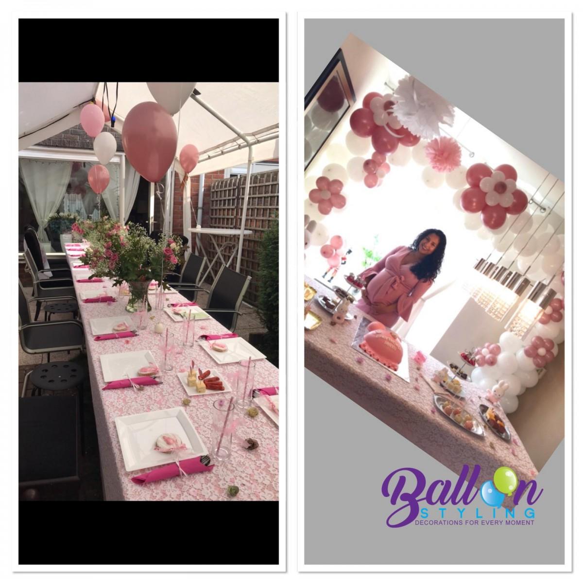 Balloon Styling babyshower vierkante boog rose en witte ballonnen