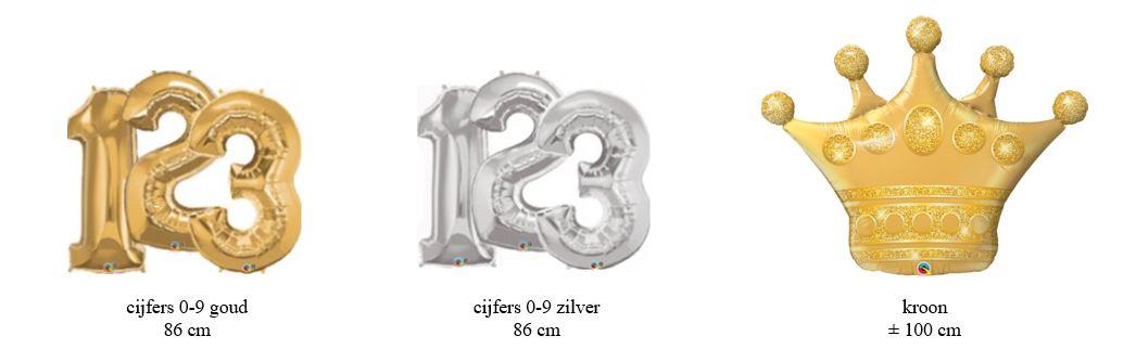 Balloon Styling cijfers folieballonnen in goud en zilver en kroon goud Tilburg Reeshof