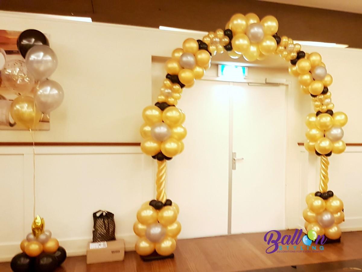 Balloon Styling ballonnenboog ballonboog 50 jaar verjaardag goud zilver zwart