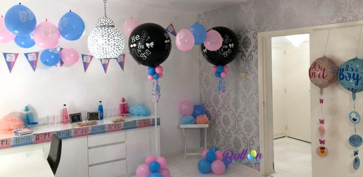 Balloon Styling gender tweeling reveal bekendmaking geslachtsbepaling he or she baby boy baby girl Tilburg Reeshof