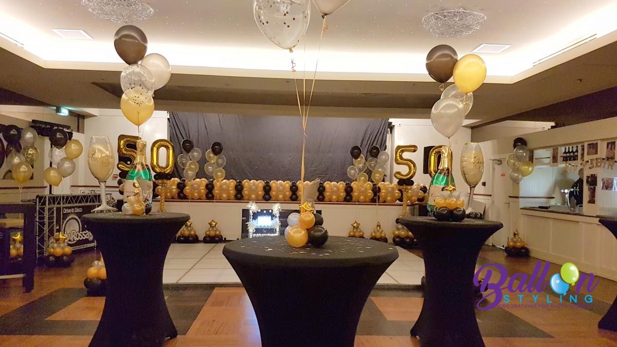 Balloon Styling ballonnendecoratie heliumballonnen gronddecoratie metallic goud-zilver metallic zwart verjaardag