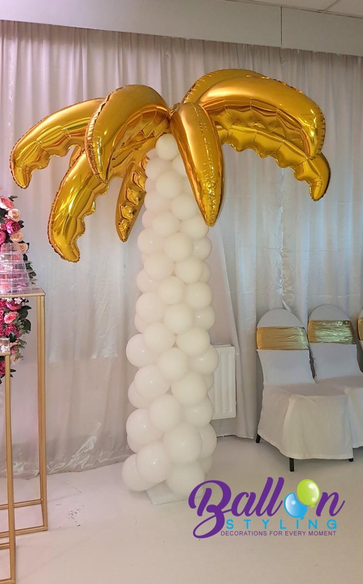 Balloon Styling Tilburg ballonnenpilaar ballonpilaar palmboom gouden palmbladeren