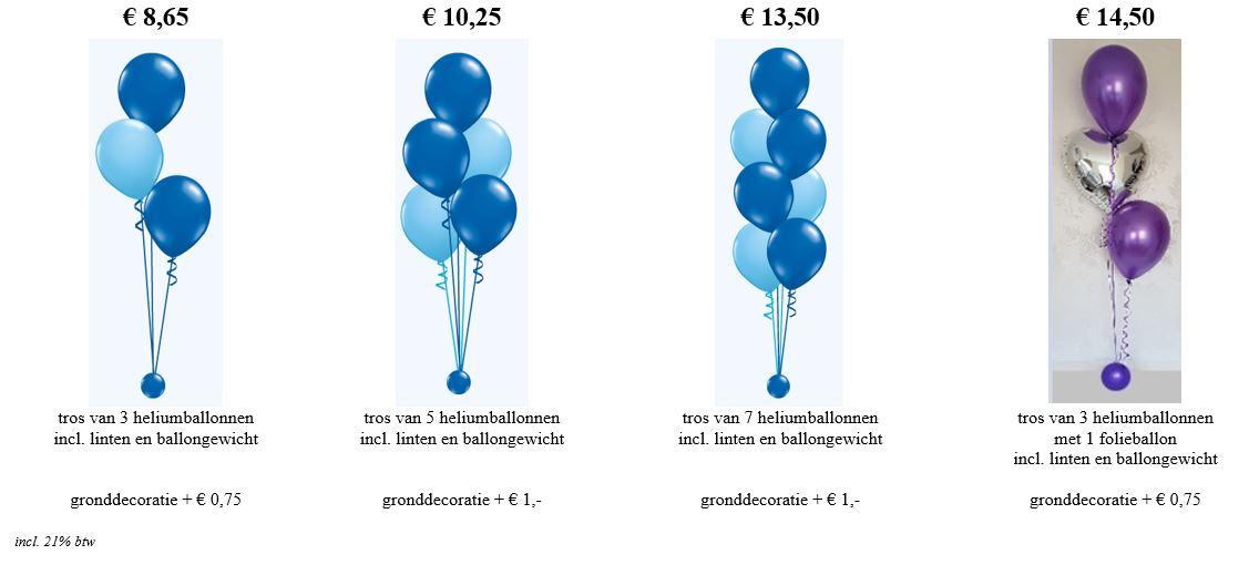 Balloon Styling Tilburg trossen heliumballonnen tafeldecoratie gronddecoratie folieballonnen