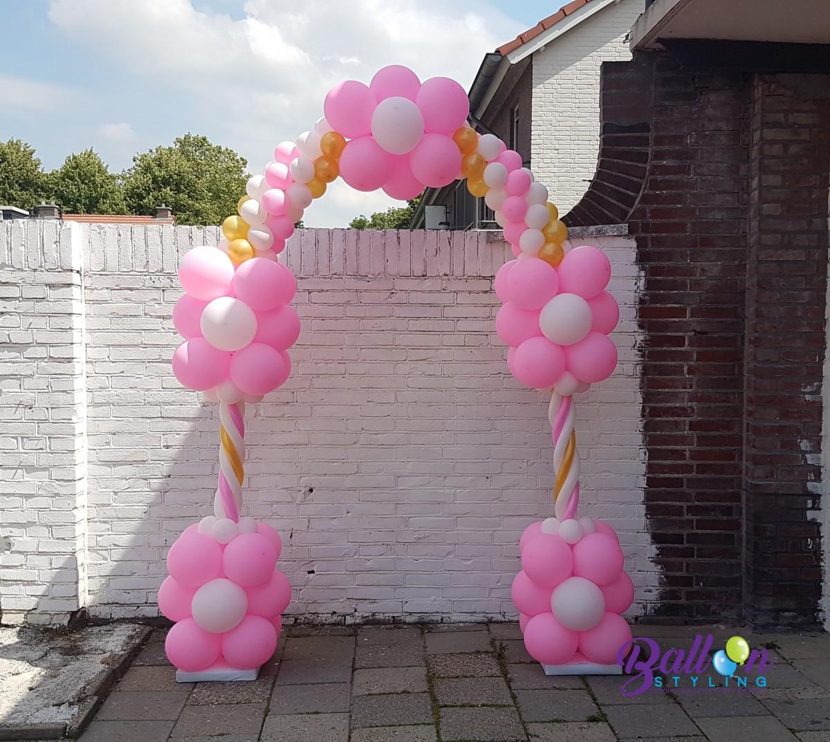 Balloon Styling ballonnenboog ballonboog roze wit en metallic goud