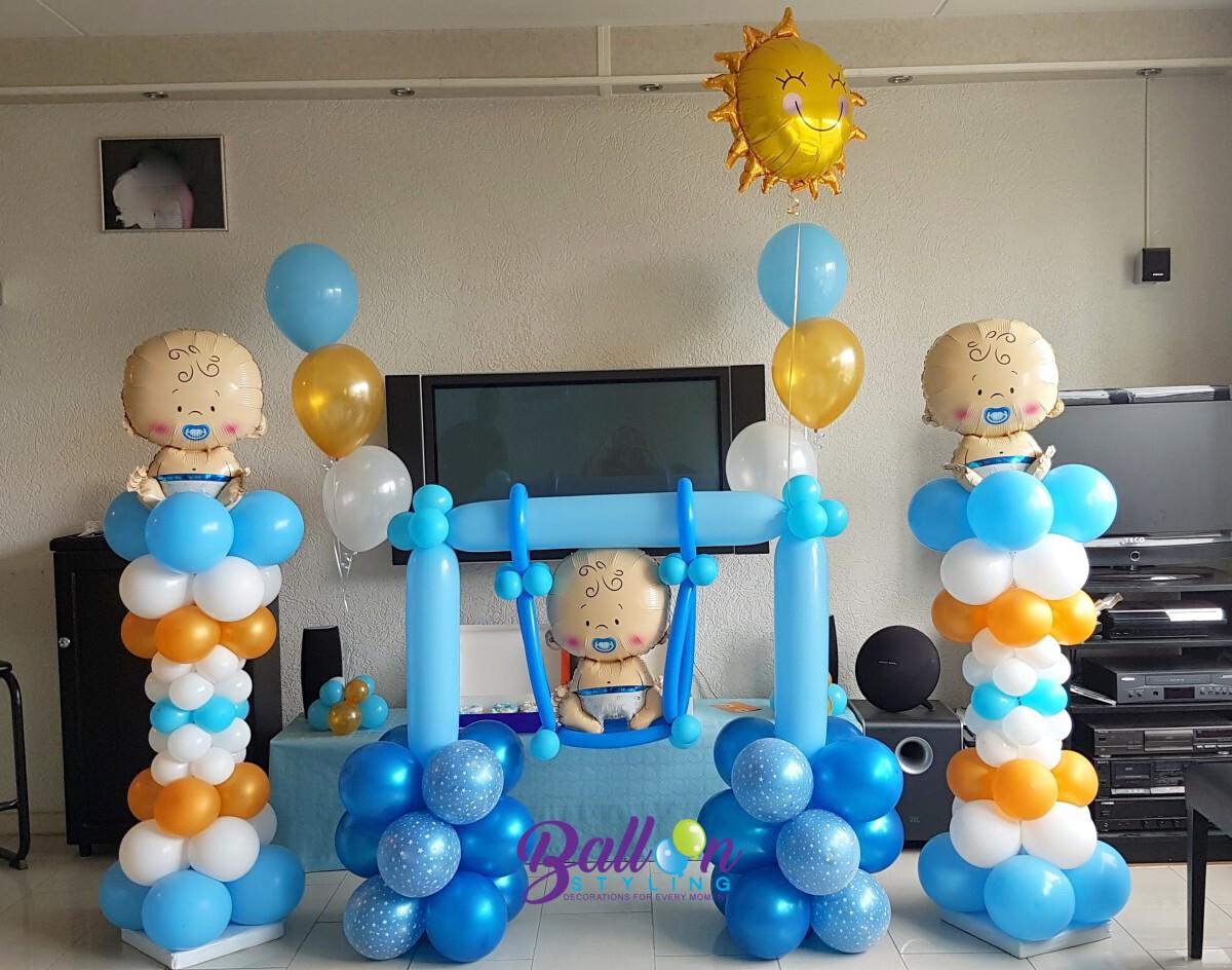 Balloon-Styling-ballonnenpilaren-ballonpilaren-ballonnenpilaar-ballonpilaar-heliumballonnen-babyshower-tafeldecoratie-gender reveal kraamfeest Tilburg-1