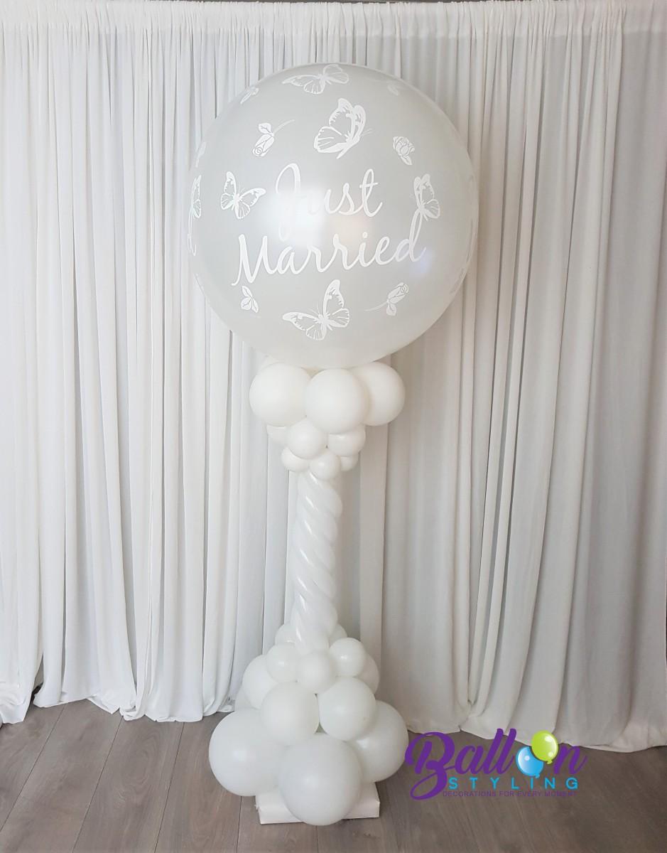 Balloon Styling Tilburg ballonnenpilaar dubbel hart Just Married bruiloft trouwerij ballonnen Tilburg (1)