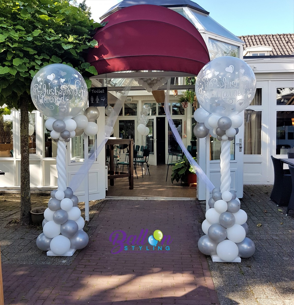 Balloon Styling Tilburg ballonnenpilaren ballonpilaar Just Married huwelijk trouwerij ballonnen Tilburg (1)