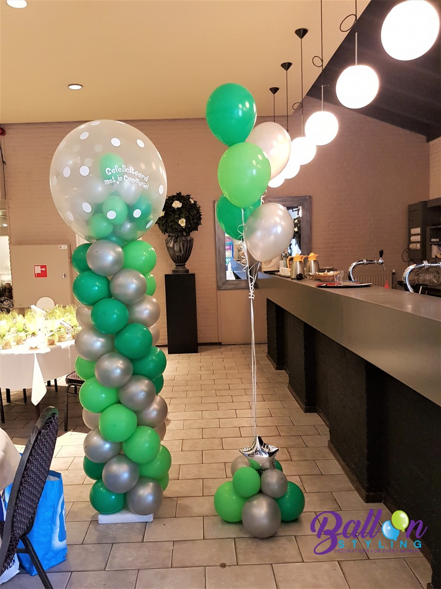 Balloon Styling Tilburg gronddecoratie vloerdecoratie tafeldecoratie communie pilaar ballonnen Tilburg (1) (1)