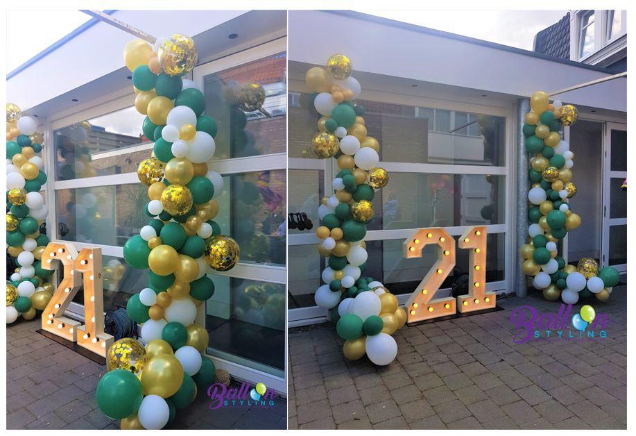 Balloon Styling Tilburg organic ballonnenslinger confettiballon goud metallic goud forest green en wit verjaardag ballonnen Tilburg4 (1)