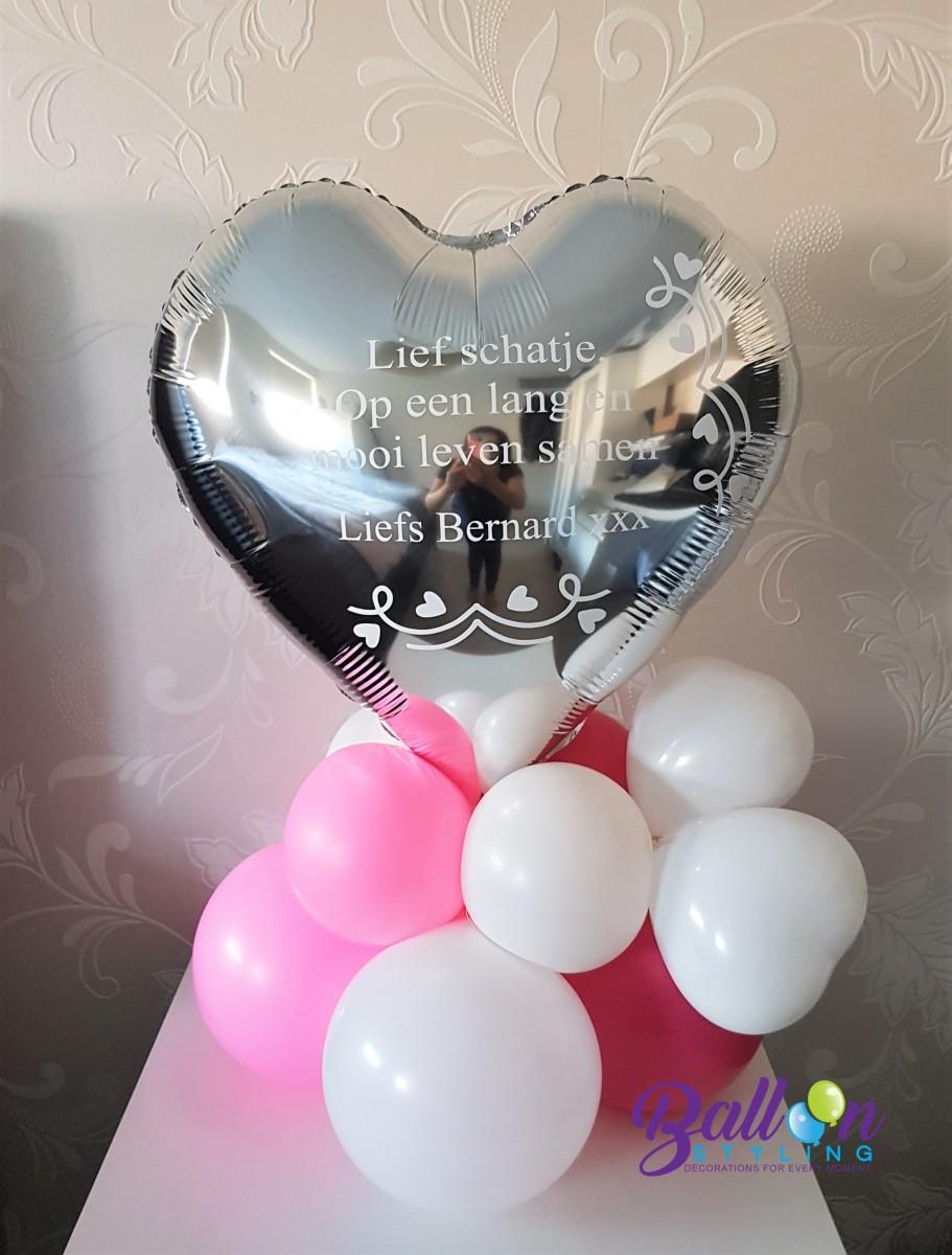 Balloon Styling Tilburg gepersonaliseerde ballon bedrukking huwelijk trouwerij zilveren hart ballonnen Tilburg (1)