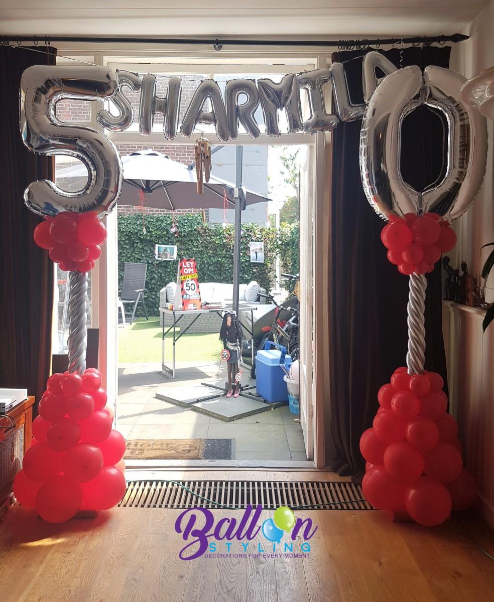 Balloon Styling Tilburg ballonnenpilaar ballonpilaar 50 jaar Sara verjaardag cijfer folieballon naamletter ballonnen Tilburg2.jpeg (1)