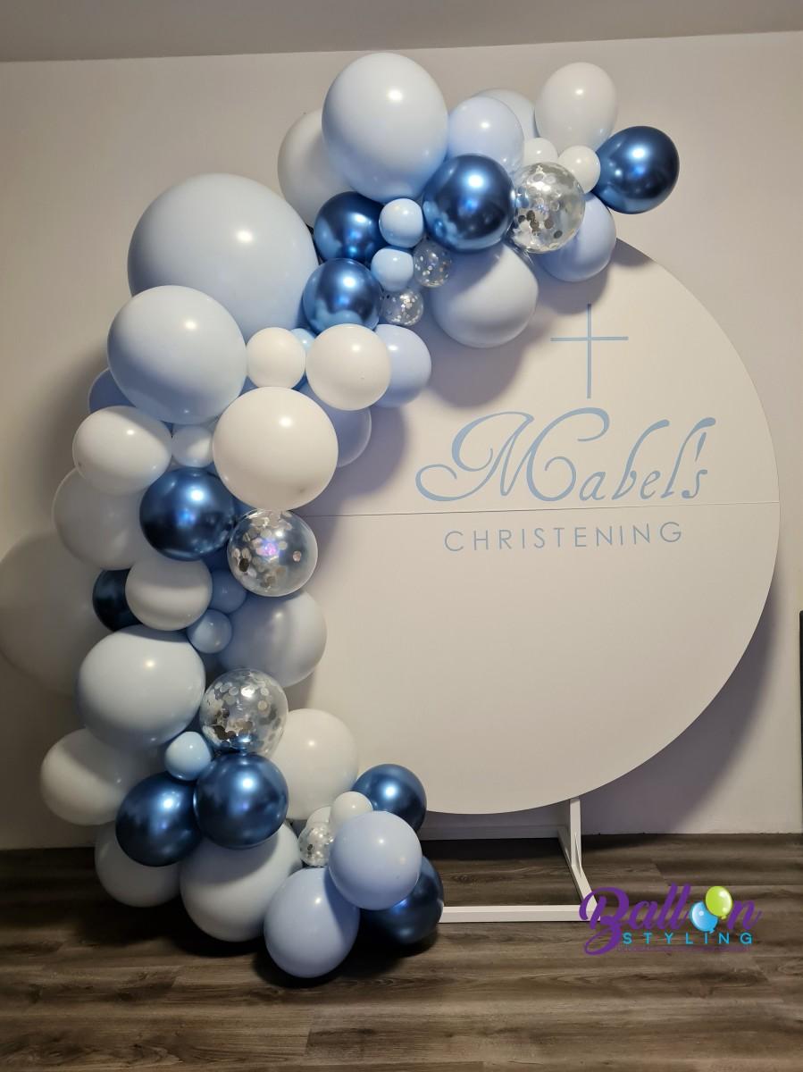 Balloon Styling Tilburg organic ballonnenslinger wandbord bedrukt chrome blauw doopfeest ballonnen Tilburg (1)