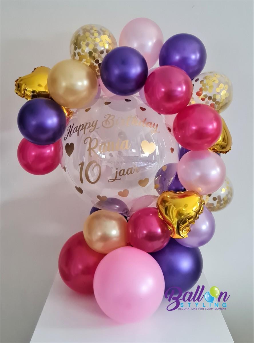 Balloon Styling Tilburg gepersonaliseerde ballon bubble ballon bedrukt verjaardag meisje folieballon hart confettiballon ballonnen Tilburg (1)