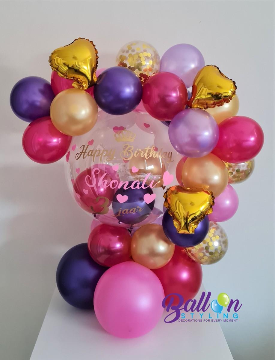 Balloon Styling Tilburg gepersonaliseerde ballon bubble ballon bedrukt verjaardag meisje folieballon hart confettiballon ballonnen Tilburg2 (1)