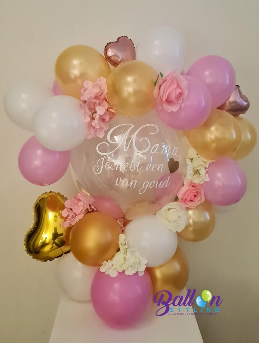 Balloon Styling Tilburg Moederdag bedrukte ballon gepersonaliseerde ballon rozen bloemen hart ballonnen Tilburg (1)