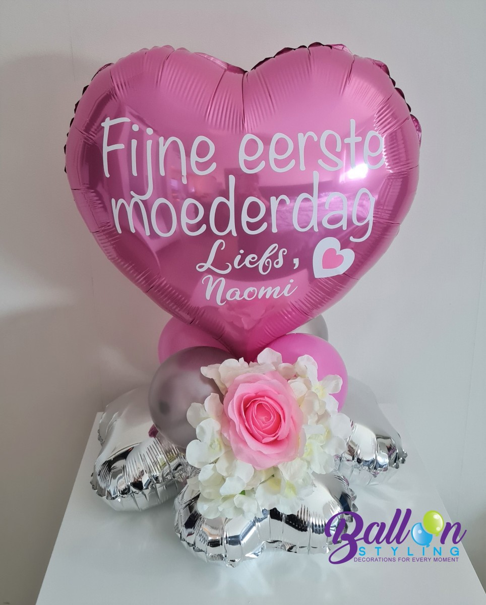 Balloon Styling Tilburg Moederdag bedrukte ballon gepersonaliseerde ballon rozen bloemen hartballon ballonnen Tilburg (1)